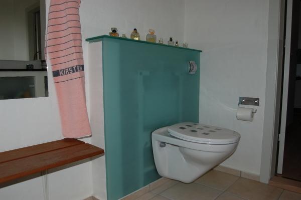 Toilet ophængt på glasvæg